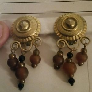 Jewelry - Vintage Gold Clip On Earrings with Brown Dangles.